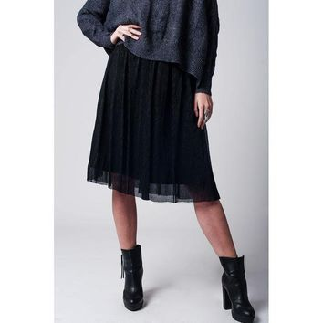 ONETOW BLACK METALLIC PLEATED MIDI SKIRT