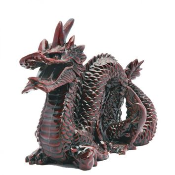 Large Chinese Stone Resin Red Dragon Statue