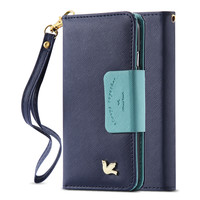 3D Bird Cute Wallet Bag For Iphone 6 6s / Plus Cover Soft PU Leather String + Mirror + Card Holders Retro Woman Case For Iphone6
