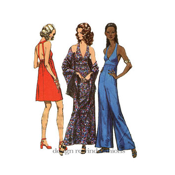1970s Disco Dress Jumpsuit PantDress Sexy Backless Halter Style Deep VNeck Jumpsuit & Shawl Bust 32.5 Simplicity 9759 Womens Sewing Patterns