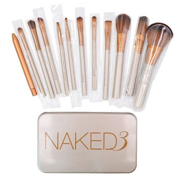 12Pcs Synthetic Makeup Brush Set Cosmetic Brushes Gold Wooden Handle with a Box
