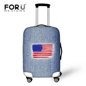 FORUDESIGNS Travel Accessories American Flag Pattern Luggage Protective Cover Apply to 18-30 Inch Suitcase 3D Blue Denim Covers
