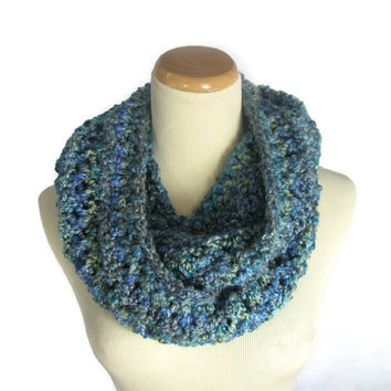 Blue Infinity Scarf, Cowl, Circle Scarf, Knit Scarf, Hand Knit,  Winter Scarf, Fashion, Women
