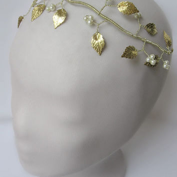 Gold Leaf Wreath,Gold Leaf Bridal Crown,Wedding Gold Greek Wreath,Greek Headpiece, Leaf Garland,Gold Tiara,Gold Headpiece