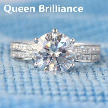 Ring. 3 Carat New DEF Engagement Wedding Lab Grown Moissanite Diamond Ring With Real Diamond Accents 14k 585 White Gold