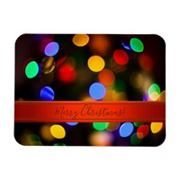 Multicolored Christmas lights. Add text or name. Magnet