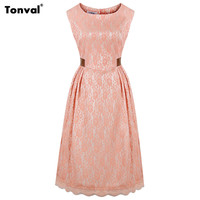 Tonval S - 4XL Women Vintage 50s Lace Pink Dress Tunic Plus Size Leather Patchwork Ruched Rockabilly Retro Swing Dresses