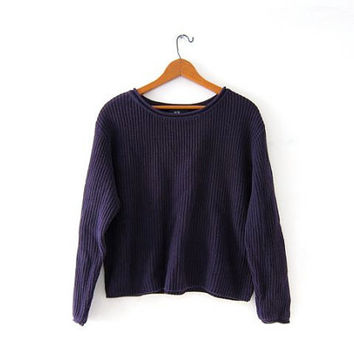 vintage cropped sweater. ribbed sweater. dark purple boxy pullover.