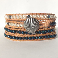 Pewter Seashell Button 4x Beaded Wrap Bracelet w/ Swarovski Pearls and Crystals