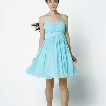 Light blue Wedding dress/Silk Chiffon party dress/ bridesmaid dress/Prom/ handmade/ knee length formal dress - NC521