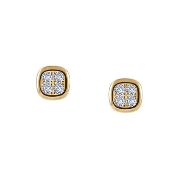 Lafonn Yellow Gold Plated Button Cluster Simulated Diamond Stud Earrings