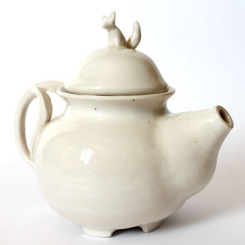 Little white fox porcelain teapot, wheel thrown, handmade ceramics