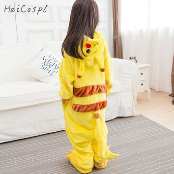 Kigurumi Pikachu Onesuit Kids Pokemon Cosplay Costume Lovely Warm Boy Girl Anime Party Disguise Yellow Hooded Suit With Shoes