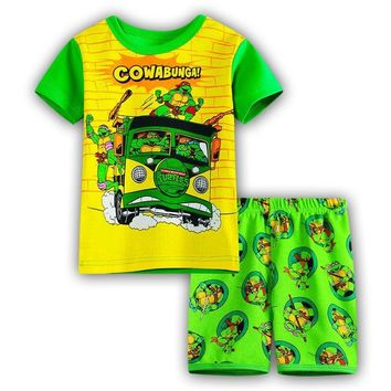 Super Mario party nes switch 2018 Casual Turtles Cartoon Cotton  Bros Children's Sets Boys T-shirts Short Pants Kids' Clothing Summer Pajamas Sets AT_80_8