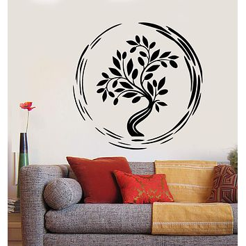 Vinyl Wall Decal Enso Circle Asian Tree Buddhism Tree Of Life Stickers (2717ig)