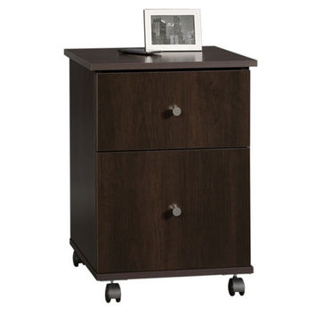 Cinnamon Cherry Finish 2-Drawer Mobile File Cart Filing Cabinet