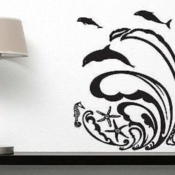 Wall Sticker Vinyl Decal Wave Dolphin Sea Star Meduza Ocean Decor Unique Gift (n059)