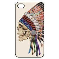Death Skeleton Side Head Hard Back Shell Case Cover Skin for Iphone 4 4g 4s Cases Colorful Skull - Black/white/clear