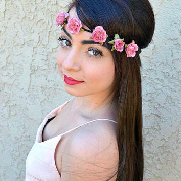Flower Headband - Roses Headband - Vintage Roses - Hippie Headband - Festivals - Raves - Hair Accessories