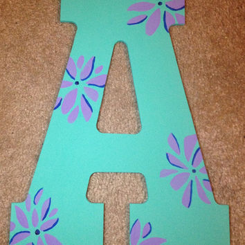 Hand Painted Wooden Letter A // Wall Decoration//