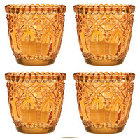 Vintage Orange Glass Tea Light Holder (Set of 4)