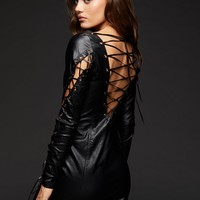 Hotter Than Hell Faux Leather Laced Up Rocker Dress