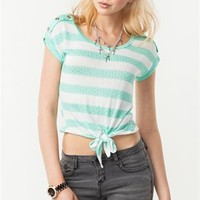 A'GACI Button Shoulder Trim Stripe Tie Front - TOPS