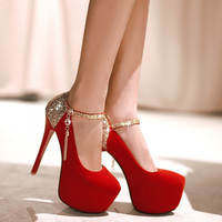 Fashion bright pure color wedding shoes