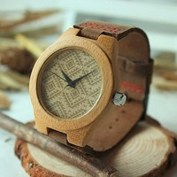 Affute Zigzag Wave Design Palo Santo Wooden Real Cowhide Leather Band Wood Wrist...