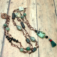 Cat Lampwork Green Jade Aventurine Jasper Copper Long BOHO Necklace