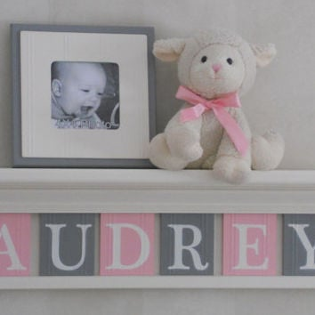 "Personalized Children Nursery Decor 24"" Linen White Shelf with 6 Letter Wooden Tiles Painted Light Pink and Gray - AUDREY"