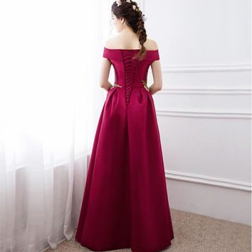 Prom Dresses Fashion Summer Satin With Big Flowers A-line Prom Dress Boat Neck Prom Dresses
