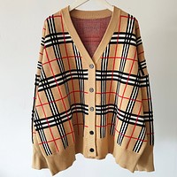 Burberry New fashion stripe women long sleeve coat cardigan