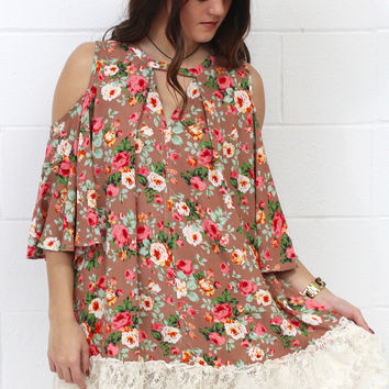 Lace + Floral Print Cold Shoulder Tunic Dress {Taupe}