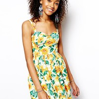 Band of Gypsies Cupped Cami Dress in Sunflower Print
