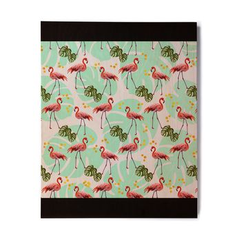 "Mmartabc ""Flamingos Pattern With Monster"" Green Pink Vector Birchwood Wall Art"