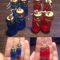 SPRING CLEARANCE! Mana Potion and Health Potion Earrings
