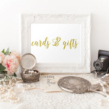 Printable wedding signs, Cards and gifts signs, 5x7, gold lettered wedding sign, wedding signage, wedding decor, INSTANT DOWNLOAD