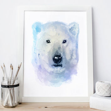Bear print white bear Watercolor bear nursery bear Painting bear poster bear Wall Art bear woodland nursery animal bear Printable bear decor