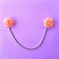 "Handmade ""Tea Time"" Pastel Rose Peach Collar or Sweater Clips - 25mm with Silver Chain"