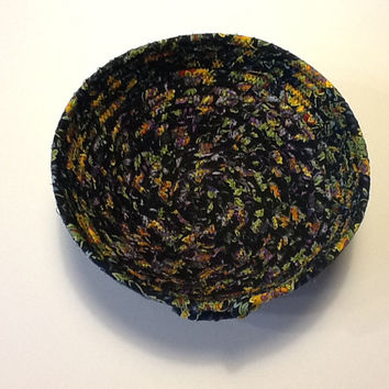 Black Yellow and Purple Coiled Rope Bowl,  Fabric Bowl,  Catchall Basket,  Organizer Basket