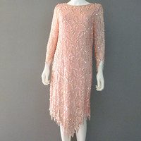 Pink Beaded Silk Dress Tea Length Dress Small Fully Beaded Sequin Dress Chanson D' Amour Formal Dress Made in India