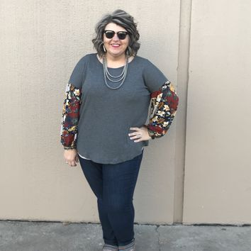 Charcoal Top with Floral Sleeves