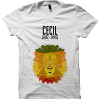 CECIL THE LION T-SHIRT 2015 ZIMBABWE SHIRT LADIES TOPS UNISEX TEE WHITE S M L XL