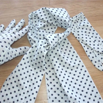Vintage 50s 60s Navy Blue & White Polka Dot Gloves and Neck/Head Scarf Set