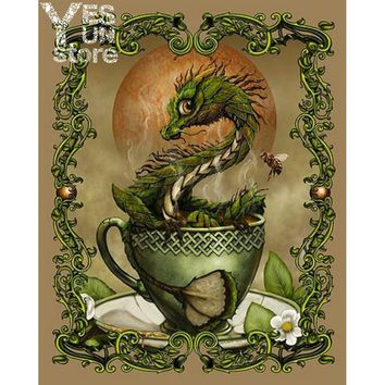 3d Diamond Painting Green Dragon in the Cup Cross Stitch Pattern Mosaic Paste Full Area Seamless Shine Decorative Home Wall Room