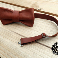 Handmade Real Leather Bow Tie - Brown