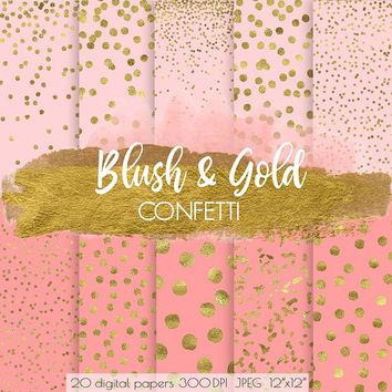 Gold Confetti Digital Paper. Pink & Gold Dot Confetti Scrapbooking Background. Blush, Gold Foil Metallic Digital Patterns. Sparkle Confetti.
