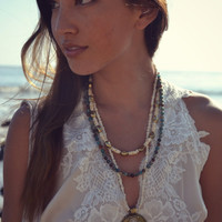Pre Order /// NATIVE JASPER /// Boho Tribal Native Inspired /// Handcrafted Turquoise and Bone Triple Strand Necklace