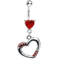 Ruby Red Jeweled Hollow Heart Belly Ring | Body Candy Body Jewelry